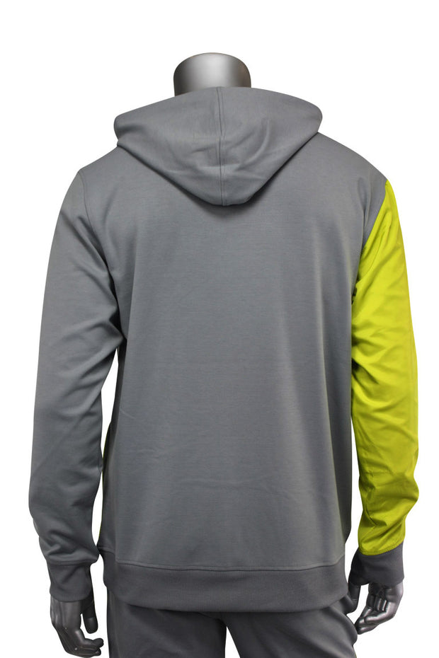 Color Block Tech Fleece Pullover Hoodie Grey (1301) - Zamage