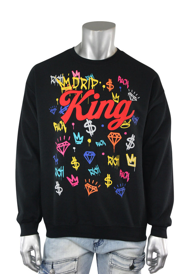 King Graffiti Fleece Crewneck Black (9551CF)
