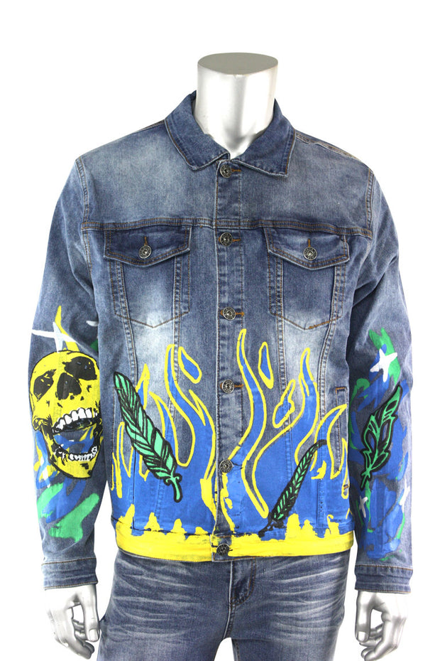 Skull Fire Denim Jacket Blue Wash (M6142D)