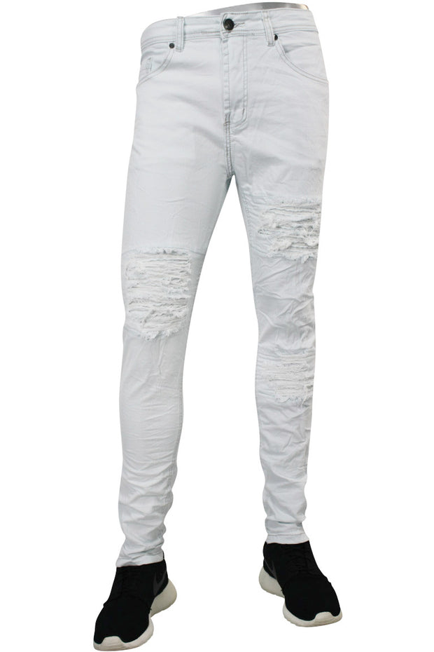 Destroyed Moto Skinny Fit Denim Bleach (M4380DB) - Zamage