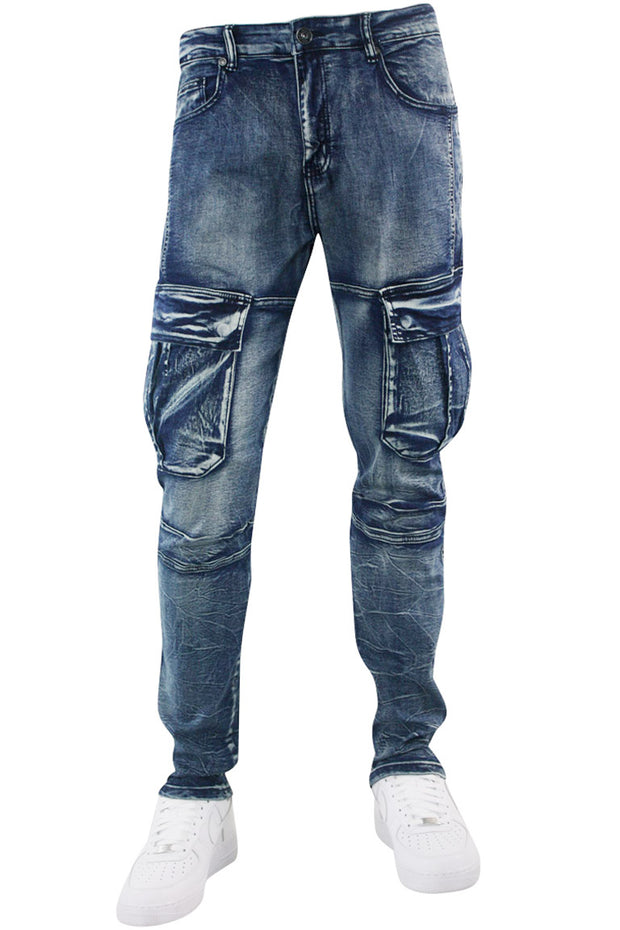 Faded Cargo Pocket Skinny Fit Denim Blue Wash (M4970D)