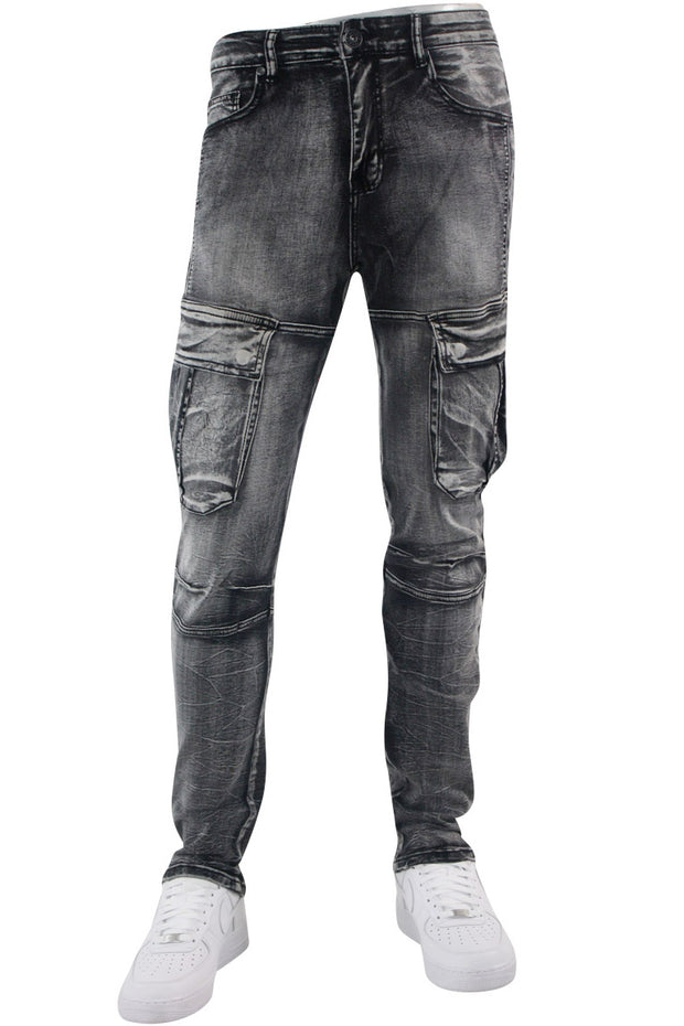 Faded Cargo Pocket Skinny Fit Denim Black (M4970D)