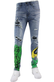 Graffiti Fire Skinny Fit Denim Blue Wash (M4988D)