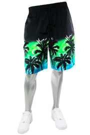 Nylon Plam Trees Board Shorts - Black (111-936) - Zamage