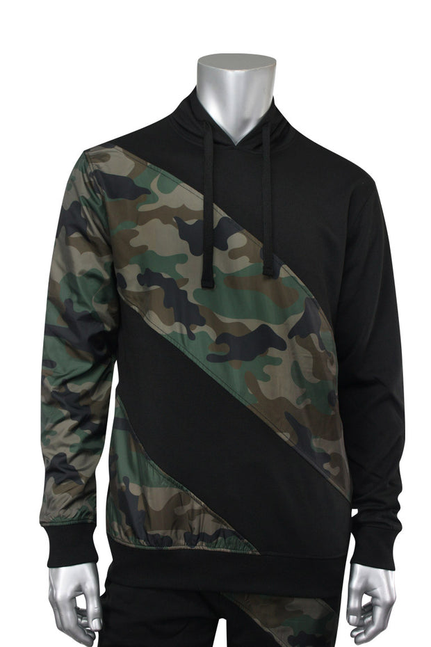 Color Block Tech Fleece Pullover Hoodie Black - Camo (1301) - Zamage