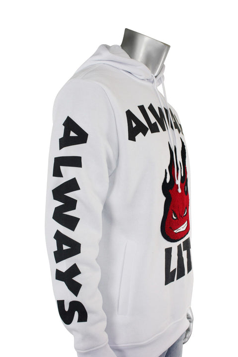 Always Lit Chenille Hoodie White (1A2-314)