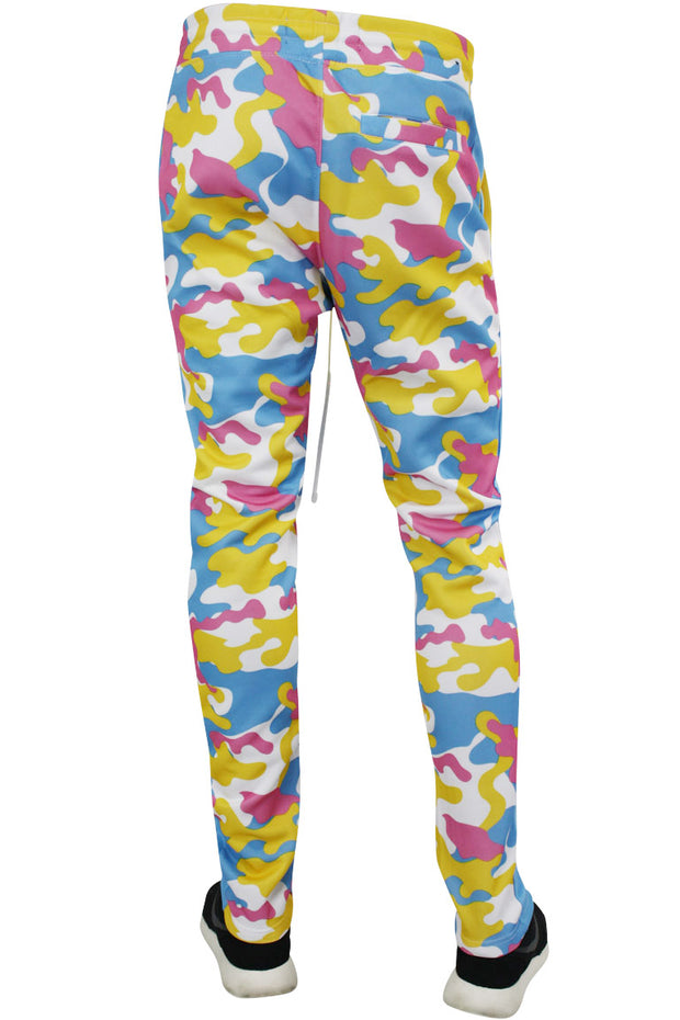 Color Block Side Stripe Camo Track Pants Pink - Blue (1914) - Zamage