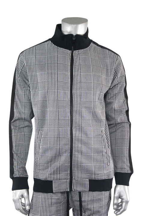 Plaid Track Jacket Black (1A2-511)