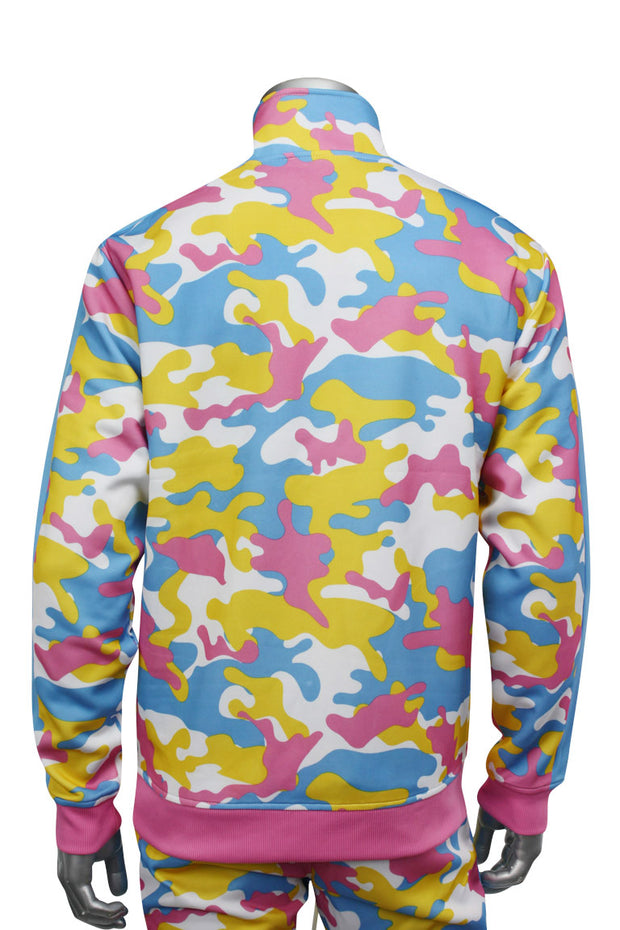 Color Block Camo Track Jacket Pink - Blue (1915) - Zamage