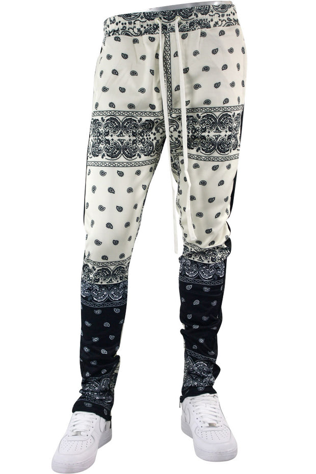 Color Block Paisley Track Pants Cream (1A2-414) - Zamage