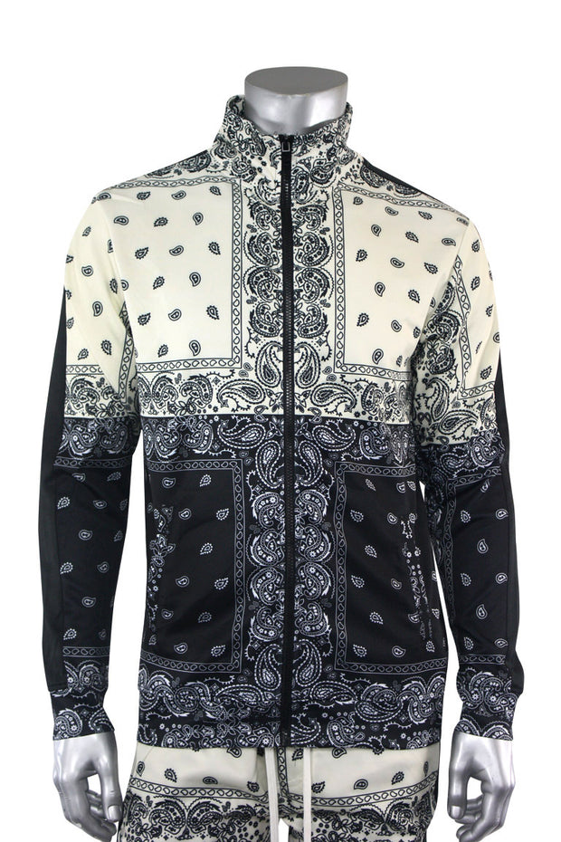 Color Block Paisley Track Jacket Cream (1A2-514)