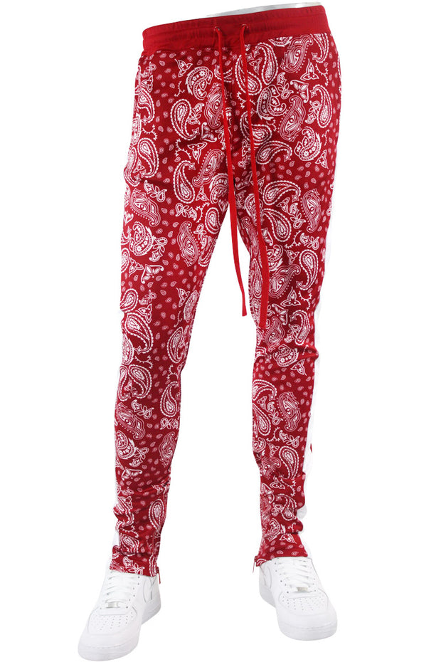 Paisley All Over Print Track Pants Red (1A2-413) - Zamage