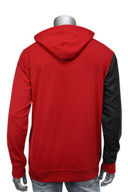 Color Block Tech Fleece Pullover Hoodie Red (1301) - Zamage