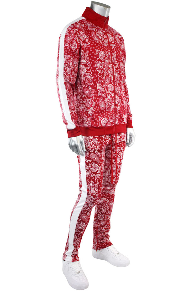 Paisley All Over Print Track Jacket Red (1A2-513) - Zamage