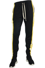 Multi Stripe Color Block Track Pants Black - Yellow - White (19703)