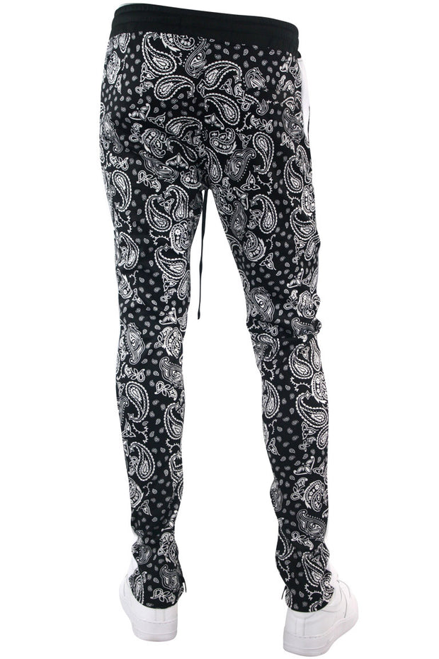 Paisley All Over Print Track Pants Black (1A2-413) - Zamage