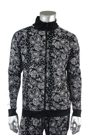Paisley All Over Print Track Jacket Black (1A2-513) - Zamage
