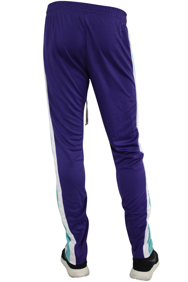 Multi Stripe Color Block Track Pants Purple - Teal - White (19703)