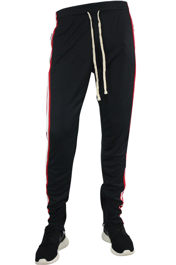 Multi Stripe Color Block Track Pants Black - Red - White (19703)