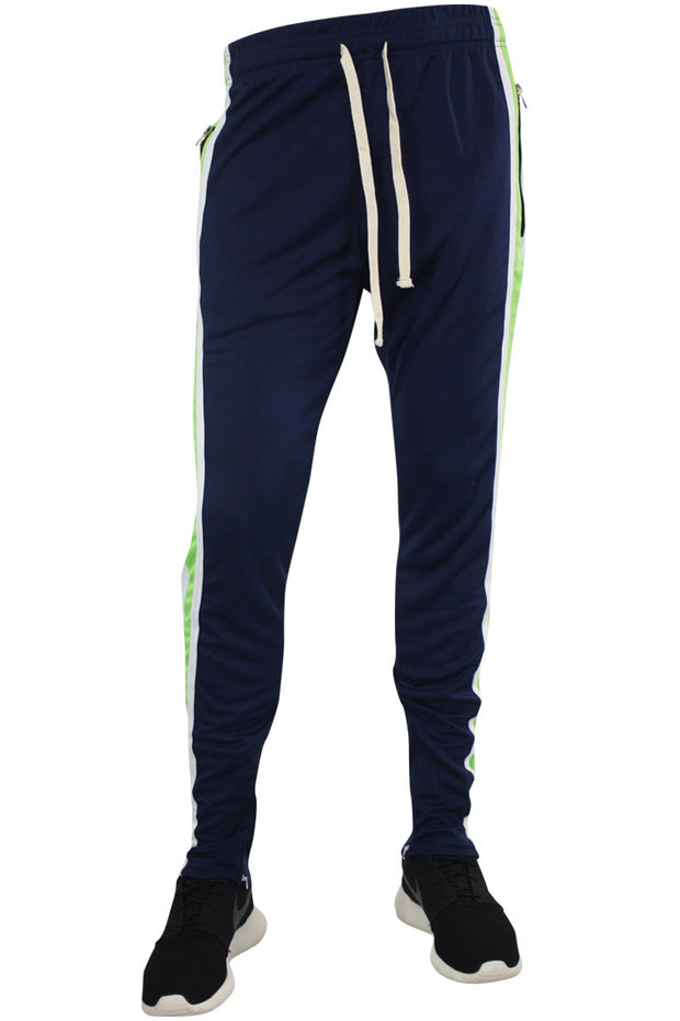 Multi Stripe Color Block Track Pants Navy - White - Lime (19703)