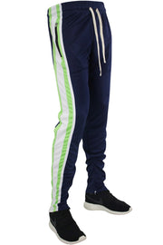🔥Multi Stripe Color Block Track Pants Navy - White - Lime (19703)