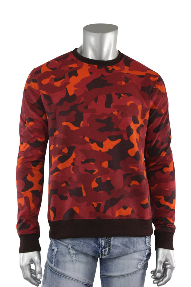 All Over Camo Crewneck Burgundy (CAMO 22S) - Zamage