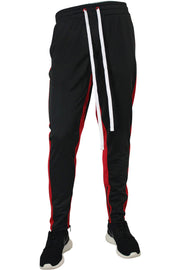 Dual Stripe Tricot Track Pants Black - Red (82-411)