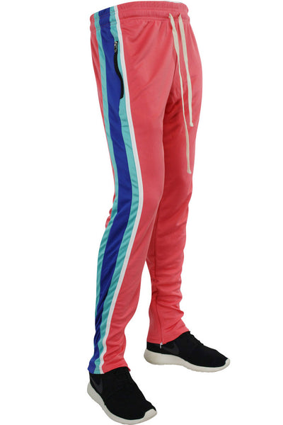 Multi Stripe Color Block Track Pants Coral - Blue - White (19703)