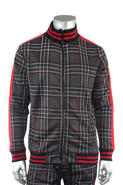 Plaid Track Jacket Black (1A2-512) - Zamage