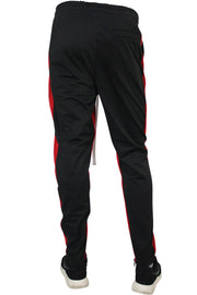 Dual Stripe Tricot Track Pants Black - Red (82-411) - Zamage
