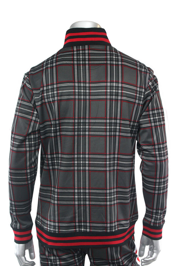 Plaid Track Jacket Black (1A2-512)