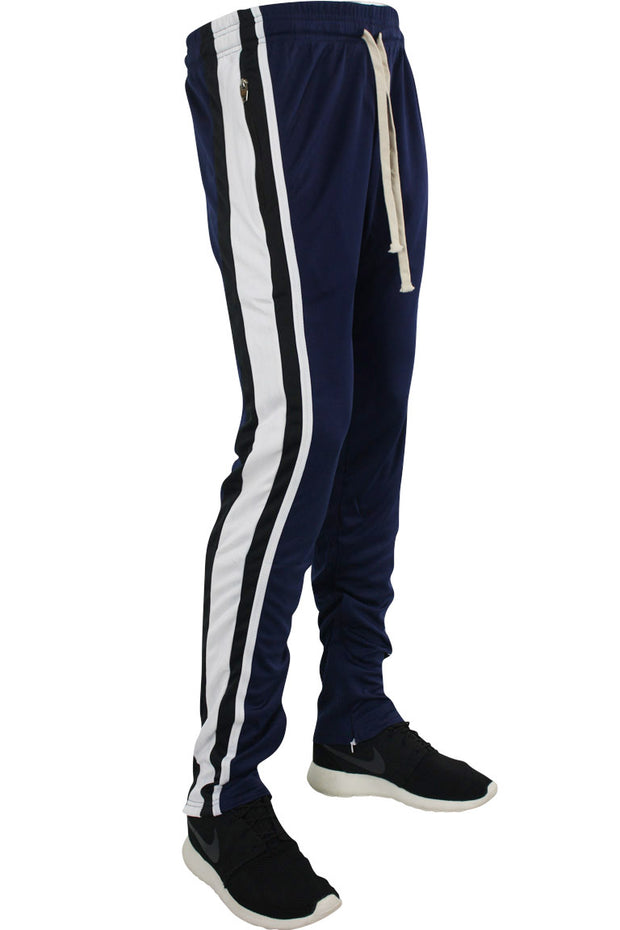Multi Stripe Color Block Track Pants Navy - Black - White (19703)