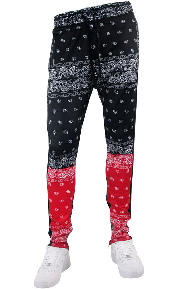 Color Block Paisley Track Pants Black - Red (1A2-414)