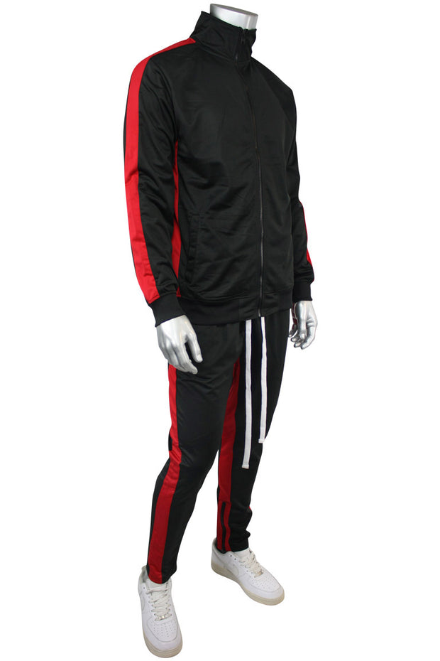 Striped Tricot Track Jacket Black - Red (82-311)