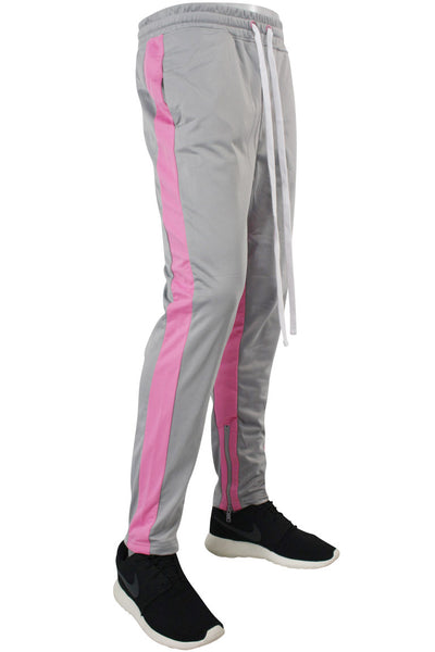 Dual Stripe Tricot Track Pants Grey - Pink (82-411) - Zamage