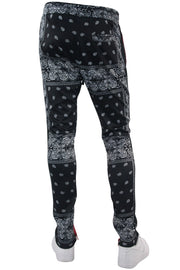 Color Block Paisley Track Pants Black - Red (1A2-414) - Zamage