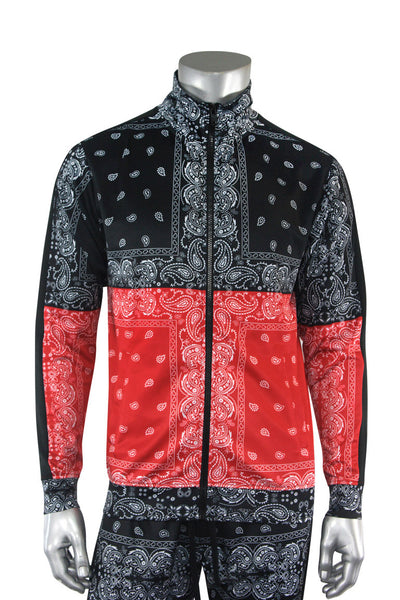 Color Block Paisley Track Jacket Black - Red (1A2-514) - Zamage