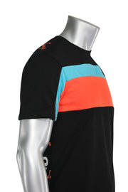 Color Block Moments Tee Black - Orange - Blue (19211) - Zamage