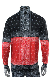 Color Block Paisley Track Jacket Black - Red (1A2-514)