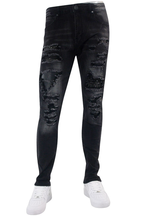 Patched Skinny Fit Denim Black Wash (M4930D)