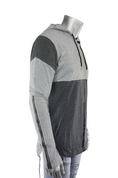 2 Tone Elongated Pullover Hoodie Heather Grey (16214 22S) - Zamage