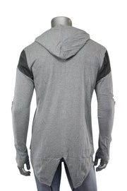 2 Tone Elongated Pullover Hoodie Heather Grey (16214 22S)