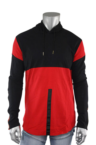 2 Tone Elongated Pullover Hoodie Black - Red (16214 22S) - Zamage