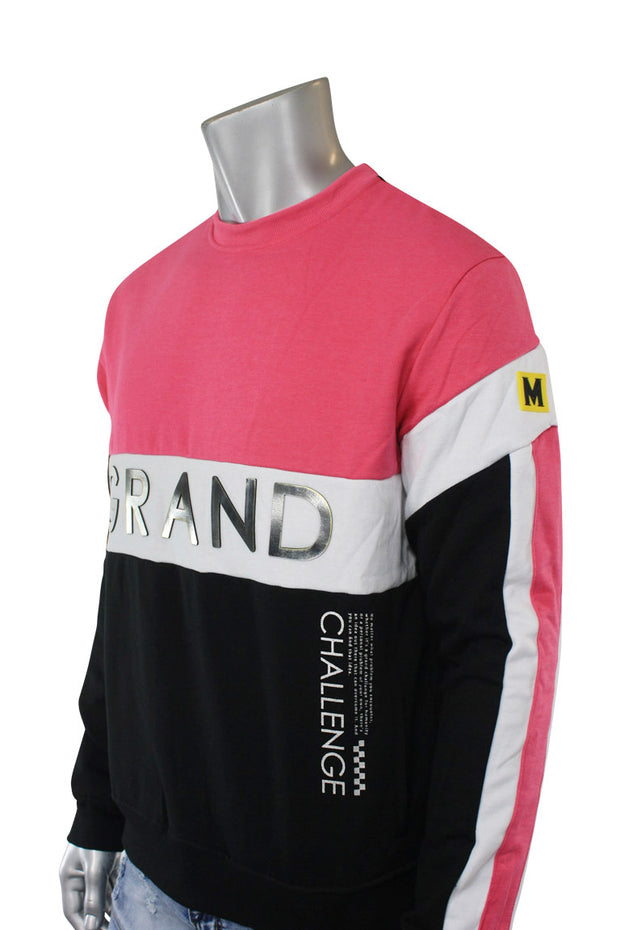Color Block Cut & Sew Grand Crewneck Sweater Fuchsia (SEW 22S) - Zamage