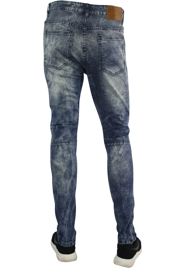 Zip Moto Washed Slim Fit Denim Blue/Grey (M4596D)