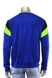 Color Block Cut & Sew Grand Crewneck Sweater Royal Blue (SEW 22S) - Zamage