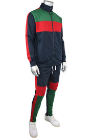 Striped Color Block Track Jacket Navy - Red - Green (82-312)