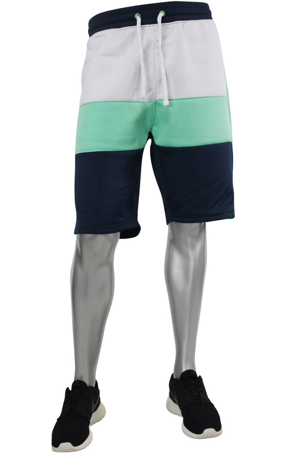 Color Block Track Shorts Navy - Teal - White (191-900) - Zamage