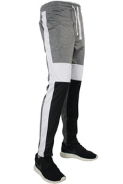 Striped Color Block Track Pants Marled Black (82-412)