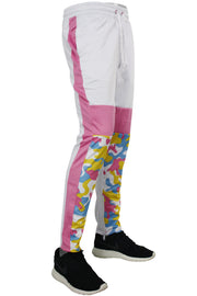 Striped Color Block Track Pants Pink - White - Camo (82-412)